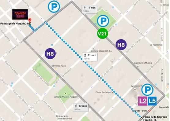 Mapa de Sagrada Família a Picadero Motel Room Escape